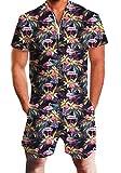 chicolife Herren Leger Kurzarm Vintage Flamingo Overall Strampler Overall Zip Shirt mit Tasche Cargo Hosen Anzüge