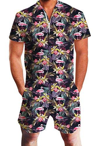 chicolife Männer Sommer Shorts 3D gedruckte Flamingo Strampler Overall Einteiler Strampler Outfits Overall-shorts-outfit