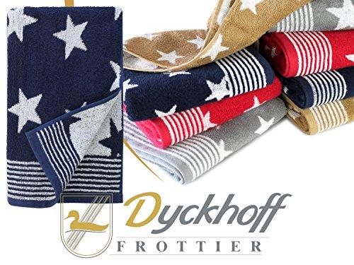 Frottierserie aus dem Hause Dyckhoff - 3er-Pack Handtücher oder ein Duschtuch - elegantes Streifendesign kombiniert mit Sternen - geprüfte Qualität, Duschtuch [70 x 140 cm], navy