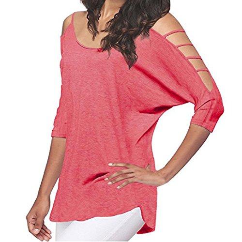 TWBB Damen Shirt Sommer Mode Beiläufig Ausgeschnitten Fledermäuse Stil Hemd Freizeit Einfarbig Irregulär Bluse (S, Rosa)