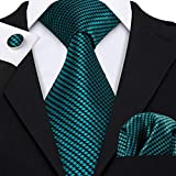 Barry.Wang Herren Krawatten-Set, quadratisch, Krawatte, Manschettenknöpfe, Krawatte Gr. Einheitsgröße, petrol