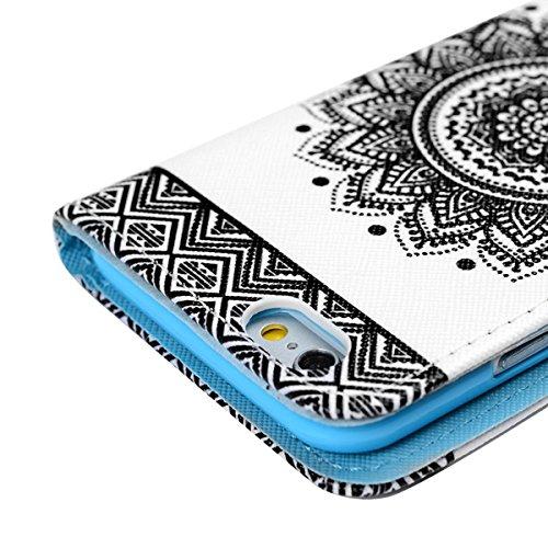 iphone 6 Hülle, Yokata iPhone 6S Cover PU Lederhülle Leder Wallet im Ultra Slim Bookstyle mit Weich TPU Silikon Bumper Backcover Case Handyhülle Magnet Flip Tasche Design Kartenfach und Ständerfunktio Mandala