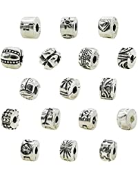 Ten (10) Pack Of Antique Silver Finish European Style Clip Lock Stopper Bead Charms