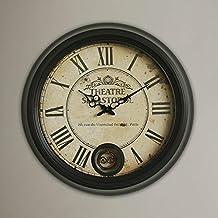 COCO Style européen rétro Rome numérique fer grande horloge murale mode salon de la maison créative style américain montres et horloges avec un pendule HOME