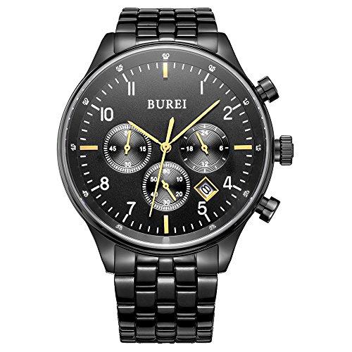 Burei Montre chronographe Montres à Quartz avec Date Noir Affichage analogique et Bracelet en Acier Inoxydable