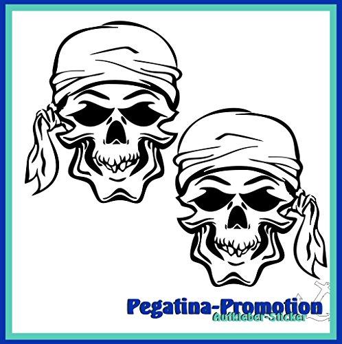 2x Pirat Totenkopf mit Kopftuch ca. 20x20 cm Aufkleber aus Hochleistungsfolie - viele Farben zur Auswahl - Angler Angelboot Sticker Boot Boote Beschriftung Bug Heck Fische Angeln Schlauchboot Nautic See Fischer Fischen