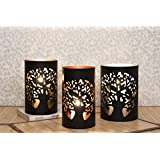 Collectible India Set Of 3 Metal Black Tea Light Candle Holder | Beautiful Flickering Reflections In The Dark | Candles For Decoration | Candle Lights Lamp For Living Room Home & Office