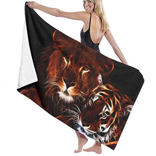 fregrthtg Luxury Oversized Beach Towels, Women's Bath Towel Wrap - Glowing Lion Tiger Travel Waffle Spa Beach