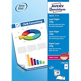 Avery Zweckform 1798-200 Classic Colour Laser Paper High-Gloss A4 150 g 200 Sheets
