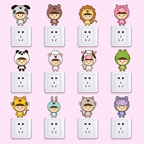 LINGBU Wandaufkleber Niedlichen Cartoon Tiere Wohnzimmer Kinderzimmer Schlafzimmer Kühlschrank Abnehmbare Selbstklebende Möbel Wandaufkleber Abziehbild Dekor -
