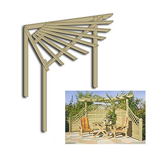 Gartenpirat Eckpergola 240 x 240 x 220 cm Pergola aus Holz für Terrasse Gartenecke