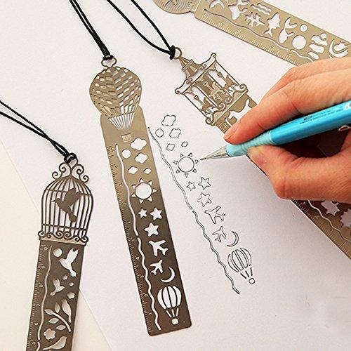 union-tesco-4-pezzi-segnalibro-del-metallo-righello-creativo-hollow-mini-del-libro-segna