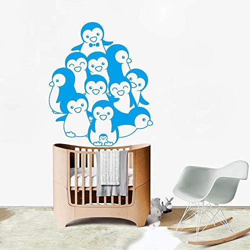 caowenhao Pinguin Baby Zimmer Tier Kinder kunstwand Vinyl wandtattoo wandaufkleber Dekoration Wohnzimmer niedlich lustige Stil blau 42x49 cm