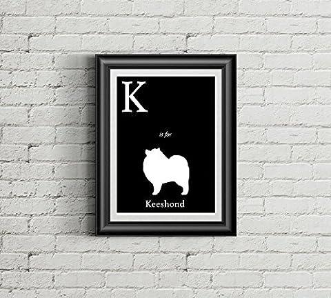 Alphabet Art Print - dog art print - K is for Keeshond Art Print - Modern Home Decor - dog silhouette art print