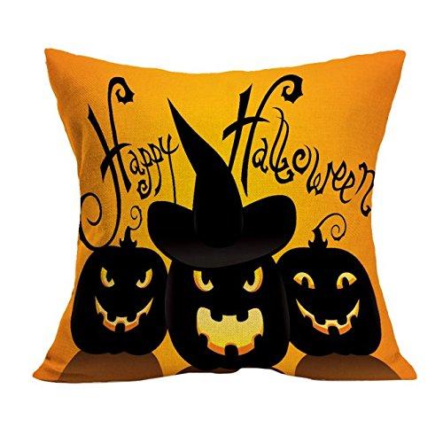 MRULIC Halloween-Kissenbezug Sofa Waist Wurfkissenbezug Wohnkultur Nacken unterstützendes Reisekissen Cushion Cover (Gelb)