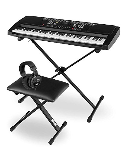 Funkey Deluxe Kit 61 Tasten Keyboard Set (inkl. passendem Ständer, bequemer Bank und hochwertigem Kopfhörer) schwarz Deluxe Kit