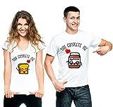 t-shirteria Coppia T-Shirt San Valentino You Complete Me Pane e Cioccolata -...
