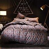 DXSX Bettwäsche Set Eleganter Europäischer Königlicher Familien-Art-Mode-Bunter Weich Polyester Mikrofaser Bettbezug Kissenbezug mit Reißverschluss-Bettwäsche-Set (Braun, 135x200cm)