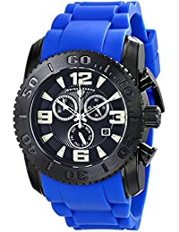 Swiss Legend Commander 10067-BB-01-BLS-B Blue Silicone Band Black Dial Mens Quartz Watch