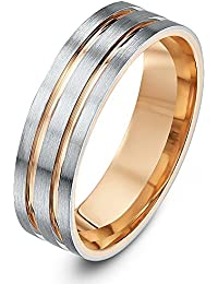 Theia Two Tone Palladium 950 and 9ct Rose Gold Flat Court Matt with Polished Inlays 6mm Wedding Ring