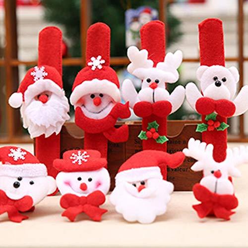 Weihnachten Patting Kreis Armbanduhr Weihnachten Kinder Geschenk Weihnachtsmann Schneemann Hirsch Neujahr Party Spielzeug Handgelenk Dekoration-Rot