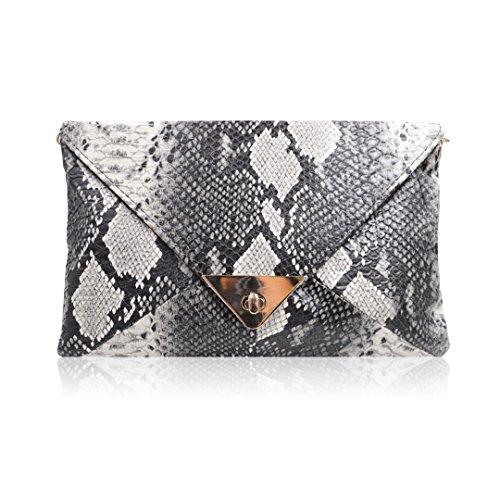 La Haute Frauen Schlangenleder Muster Handtasche Umschlag Kupplung Tasche mit Metall Kette Gurt Retro Schultertasche Fashion Geldbeutel (Schlangenleder-tasche)