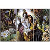 NISH! 'Religious & Spiritual' Collection | Radha Krishna Art Print On Tiles | Decorative Wall Mural Highlighter Designer Digital Tiles (Ceramic Tiles - Gloss Finish, 3ft X 2ft, UV Cured, 1 Piece) God Picture Tiles For Home, Living Room, Drawing Room,