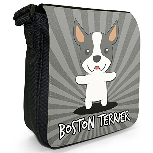 American Cartoon cani piccola borsa a tracolla tela nera, misura piccola Boston Terrier, Boxwood