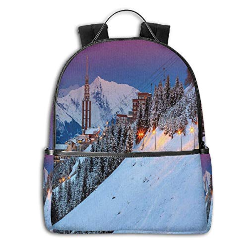 Rucksäcke Taschen Daypacks Wanderrucksäcke, College Backpacks for Women Girls,Majestic Winter Sunrise Landscape and Ski Resort Spruce Pine Forest French Alps,Casual Hiking Travel Daypack -
