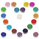 Perline Vetro, Perline Rotonde in Vetro, Circa 16000 Pezzi da in 20 Colori, in Perle di Vetro per Bambini Bracciale Fai da Te Arte e Creazione di Gioielli, Fadeless Color