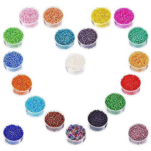 Glas Rocailles, 20 Farben 2mm Runde Glasperlen Mini Glasperlen für Kinder DIY Armband Art & Jewellery-Making, Perlen Zum Auffädeln Perlenschnur Making Set, Fadeless Farbe