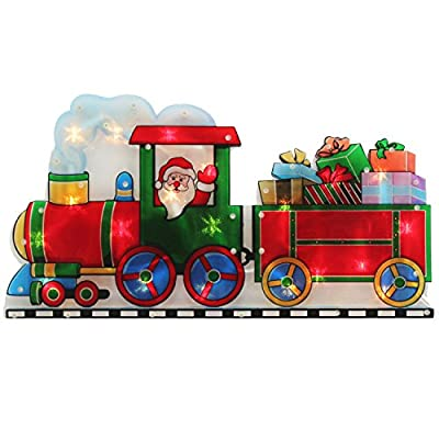 Santa Train Ride Double Sided Window Silhouette Pre-Lit Christmas Decoration