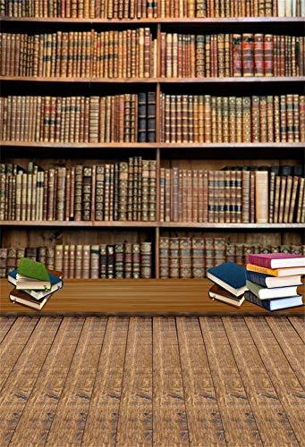 intergrund Fotografie Bücher Thema Indoor Vintage Bücherregal Holzboden Hintergrund Bücherregal Hintergrund, 1,5 mt Breite x 2,2 mt Hohe Fotostudio Requisiten ()