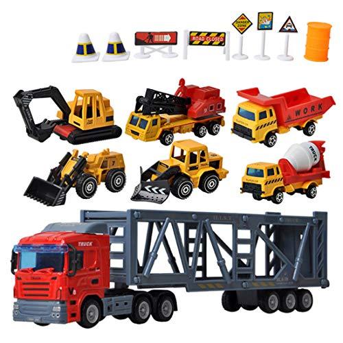 DAN DISCOUNTS 6 Stück Mini Legierung Bagger Lastwagen Autos Fahrzeugset,Kleinkind Baustelle Spielzeug ab 3 Jahren - Matchbox Baustelle