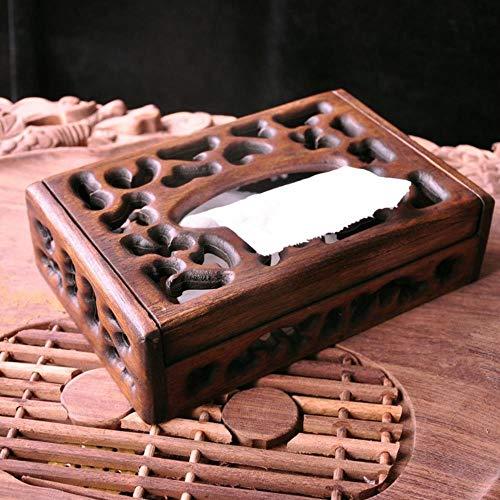 WANG Slim Retro Holz Tissue Box Import Teak Restaurant Dekoration braun Holz pumpen Tablett high-end aufbewahrungsbox Tissue, 1 (Slim-tissue-box)