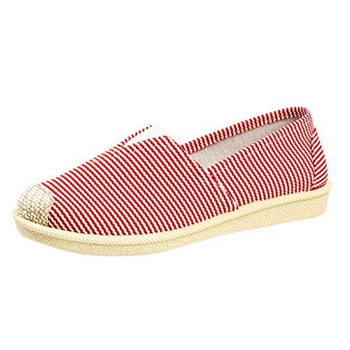 COZOCO Damen Vintage Lazy Sneakers Flache Bootsschuhe Lässige atmungsaktive Sportschuhe Laufschuhe(rot,39)