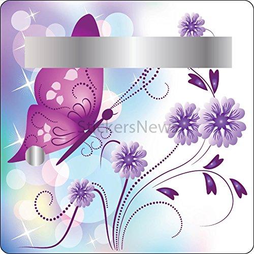 Stickers autocollants Boite aux lettres Déco Fleurs et Papillon30x30 cm réf 3503