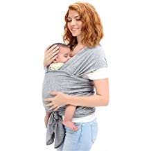 Ostenx Honda del Anillo Portador de Bebé Materna de Honda Infántil Pañuelo Elástico Fular Portabebés Fresco y Suave de Algodón del Portador del Abrigo del Bebé para Los Recién Nacidos y Niños Pequeños - Gris