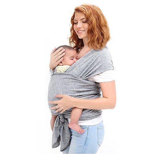 Ostenx Tragetuch Babytragetuch Bauchtrage Babytrage Baby Wrap Tragehilfe Baby Carrier Sling Babytragen Grau Babytragetücher für Männer und Frauen