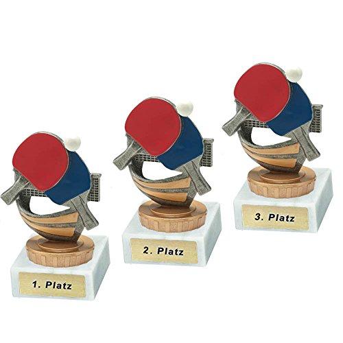 RaRu 3 Tischtennis-Pokale mit Wunschgravur und Resin-Klebefigur