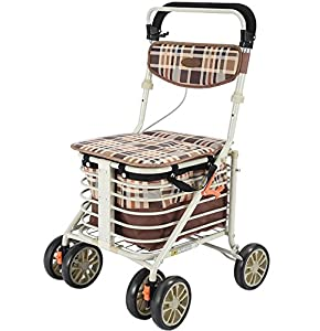 Aluminium Four Wheeled Rollator Walking Aid,Seat & Shopping Basket, Adjustable Height,Light And Safe Design
