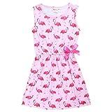 Zooarts pour 4–10ans Fille Rose Flamant rose Impression sans manches Jupe fête d'anniversaire Robe Vêtements, rose, 130 (8-9Years)