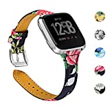 Chofit Compatible with Fitbit Versa Strap Band Leather Flower Printing accessory,One Size [5.5-8.1] Adjustable Replacement Sport Wristband for Fitbit Versa Smartwatch (A)