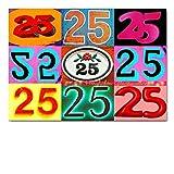 DigitalOase Glückwunschkarte 25. Geburtstag Jubiläumskarte 25. Jubiläum Geburtstagskarte Grußkarte Format DIN A4 A3 Klappkarte PanoramaUmschlag #LETTERS