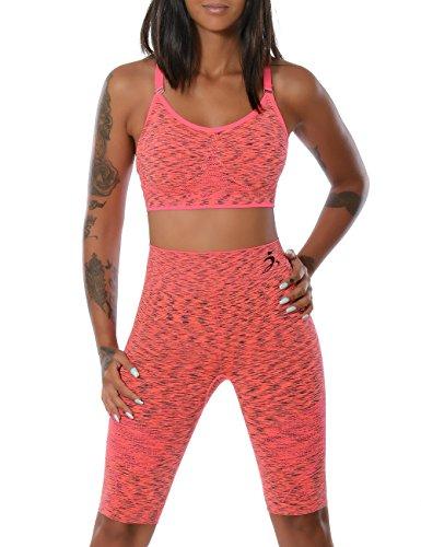 Damen Yoga Sport-Set Fitness Push-Up BH mit Hot-Pants (weitere Farben) No 14030, Farbe:Lachs;Größe:L / XL (Jacke Kleid Burnout)