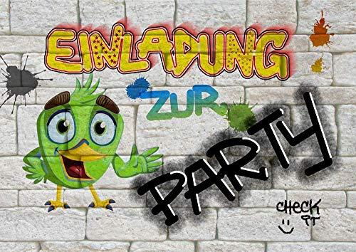 8 Einladungskarten zum Kindergeburtstag für Jungen & Mädchen | Geburtstags-Einladungen für Kinder mit Motiv Party | Einladung zur Geburtstagsparty