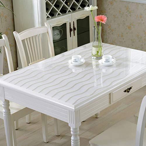Danggl tovaglia trasparente,pvc anti-scottatura in plastica morbida tavolo in vetro opaco tavolo da tè rettangolare custodia protettiva quadrata spessore 1,2 mm (dimensioni : 70cm*140cm)