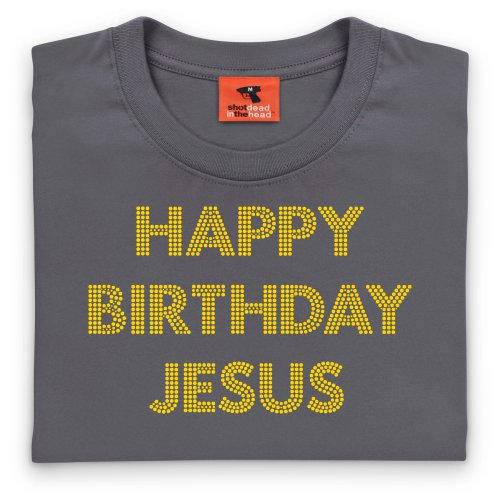 Happy Birthday Jesus Text T-Shirt, Damen Anthrazit
