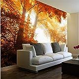 Guyuell Fototapete High Definition Herbstlaub Wald Landschaft Hintergrund Wand Wohnzimmer Tapeten Wandbilder-400Cmx280Cm