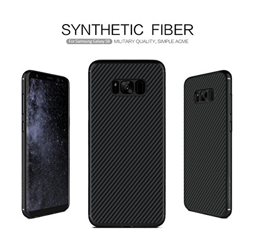 Nillkin Synthetic Fiber Premium Bumper Slim Case Back Cover For Samsung Galaxy S8 – Black [Compatible With Magnetic Phone Holder]